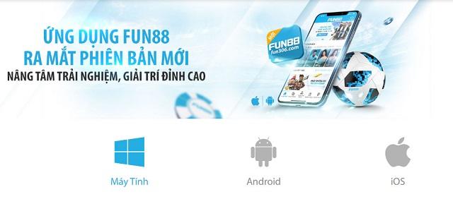 Giao diện trải nghiệm trên app FUN88 Mobile có tốc độ nhanh